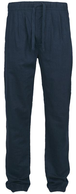 Pantalones azul marino de tela con cintura elástica y cordel