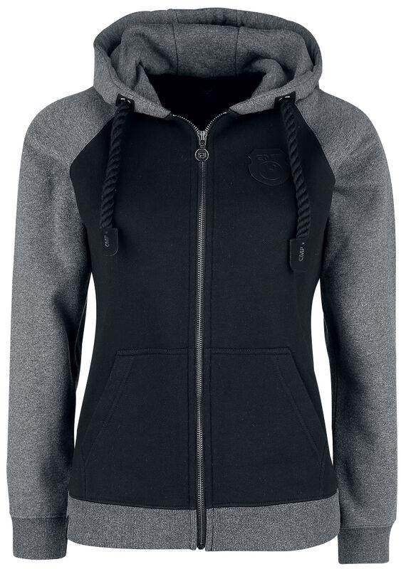 Chaqueta con capucha negra/gris