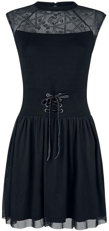 Vestido negro con malla, cordón y estampado