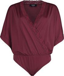 Body rojo oscuro de look envolvente y mangas kimono