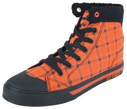 Zapatillas de interior naranja a cuadros