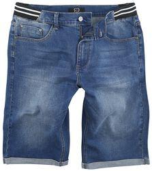 Pantalón corto vaquero con cintura a rayas