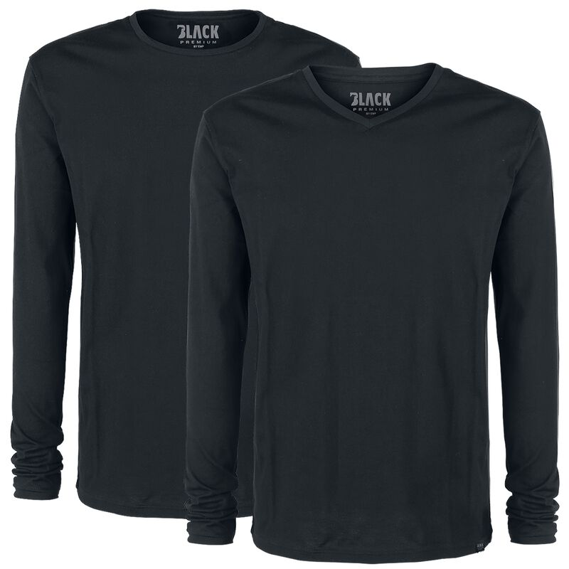 Pack doble tops negros manga larga con cuello redondo y en V