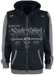 Chaqueta negra con capucha con estampados Rock Rebel y Skull