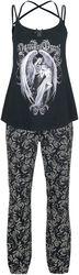 Gothicana X Anne Stokes - Pijama negro con estampado