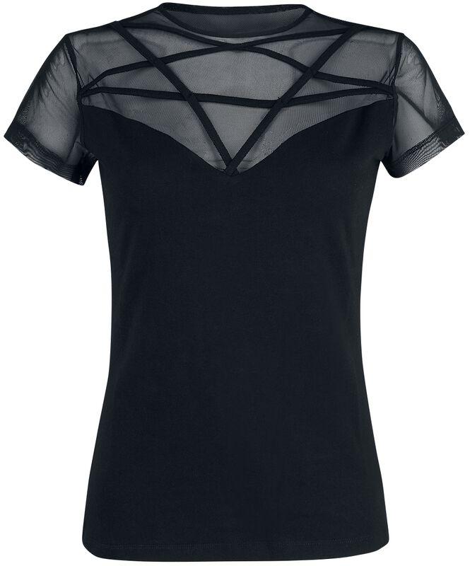 Camiseta negra con encaje y pentagrama