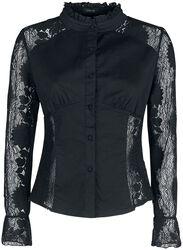 Camiseta negra con encaje transparente