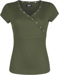 Camiseta oliva con cuello en V y ojales