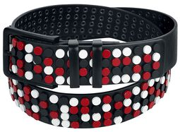 Black Belt with Red and White Studs