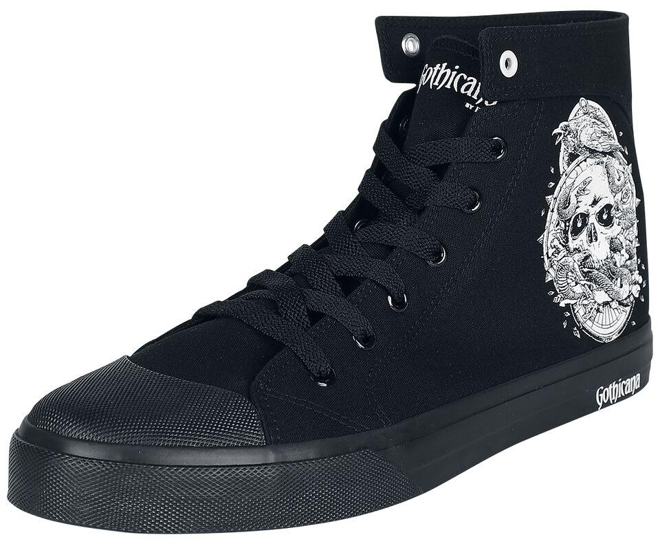 Zapatillas negras con estampado lateral y bordado