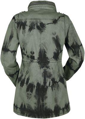Chaqueta de invierno verde con lavado batik