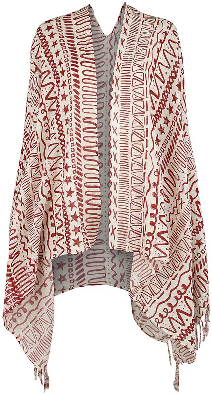 Sport and Yoga - Poncho in Burgundy/White with Allover Print