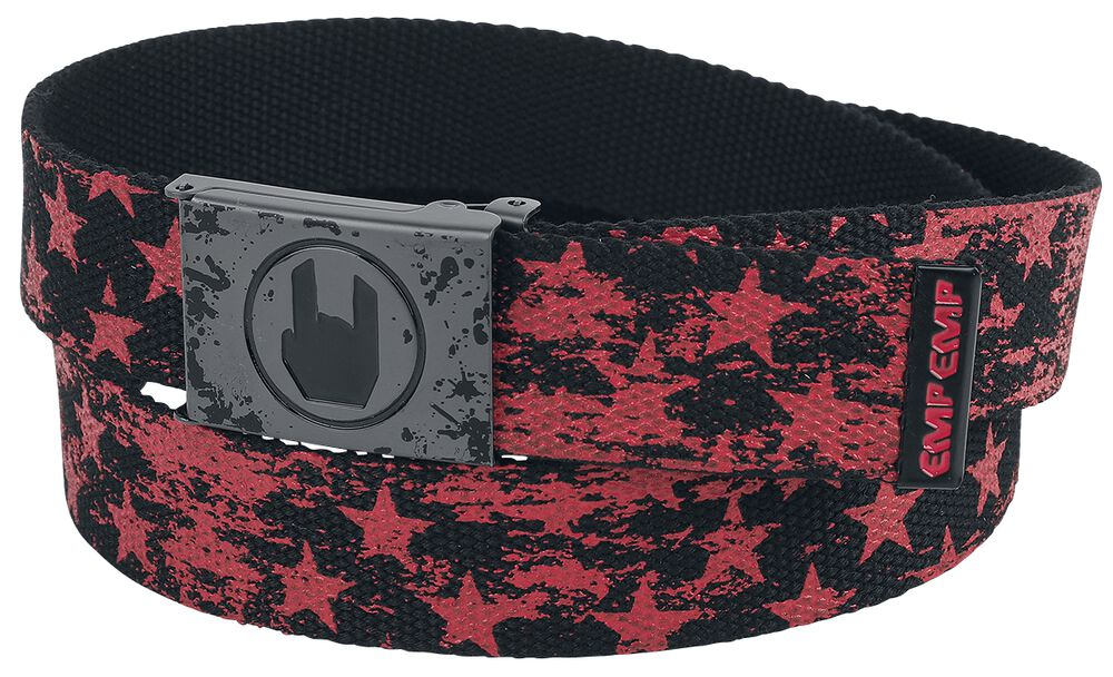 Cinturón rojo/negro con estrellas