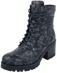 Botas negras para anudar con diseño Skull & Roses y tacón