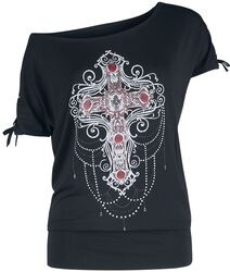 Gothicana X Anne Stokes - Black T-Shirt with Print and Lacing