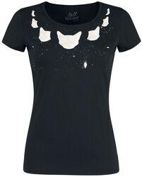 Camiseta negra con estampado y cuello redondo