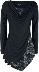 Camiseta negra manga larga con cuello cascada y estampado
