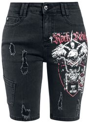 Black Denim Shorts with Print and Distressed Effects