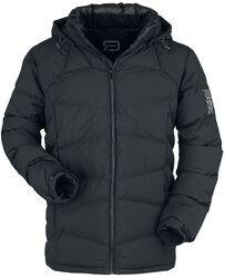 Chaqueta negra acolchada con capucha desmontable