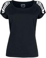 Schwarzes T-Shirt mit Cut-Outs an den Ärmeln