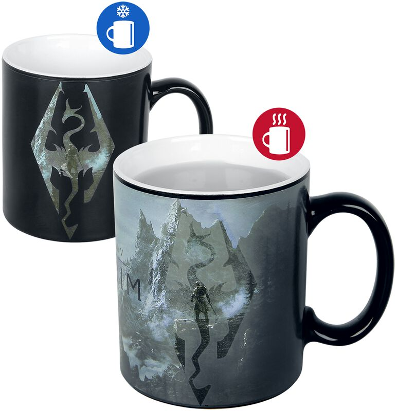 V - Skyrim - Dragon Symbol - Taza Efecto Térmico