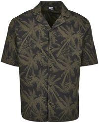 Camisa Pattern Resort Black Palm