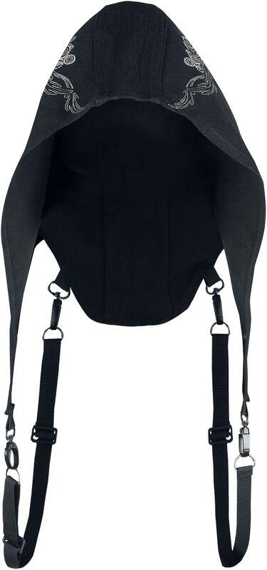 Capucha negra con detallado estampado