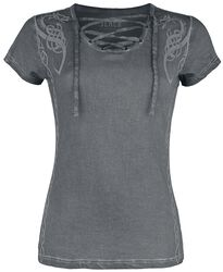 Camiseta gris con estampado y cordón