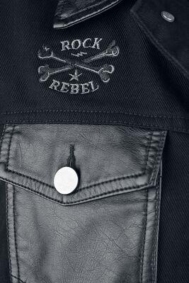 Denim Jacket with Faux Leather Details