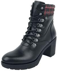 Botas negras con tacón y patrón