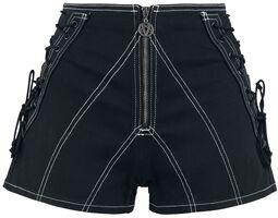 Pantalón corto negro con cordón y cremallera larga