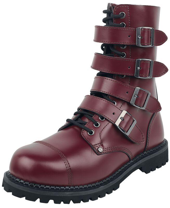 Botas rojo oscuro con hebillas