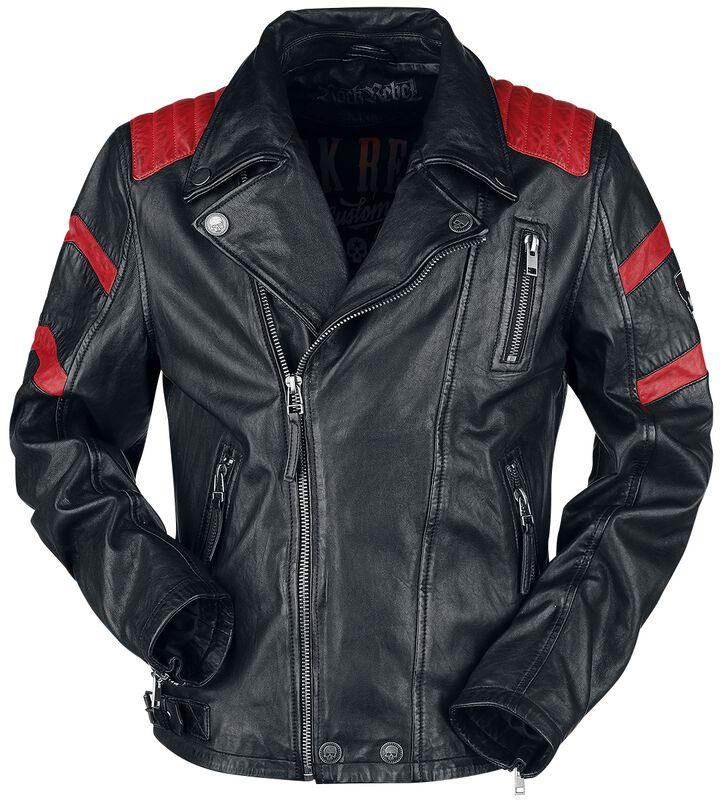 Chaqueta biker piel negra/roja
