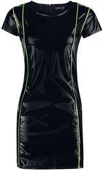Vestido negro look lacado con detalles a neón