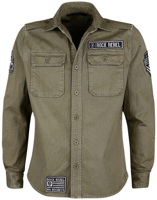 Camisa verde militar con parches y bolsillos al pecho