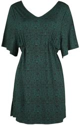 Dark Green Dress with Print, Wide Sleeves and Gathering at the Waist