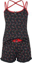 Gothicana X Anne Stokes - Schwarzer kurzer Pyjama mit Print inklusive Tuch