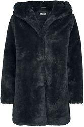 Abrigo mujer peluche con capucha