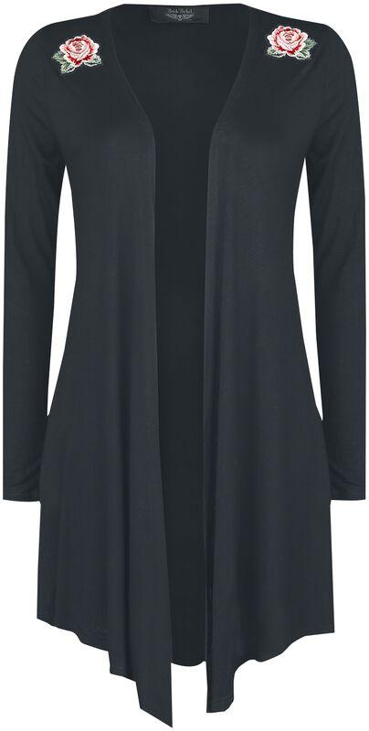 Cardigan negro con parches y estampados