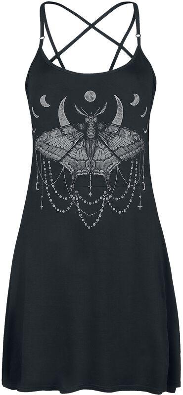 Vestido corto negro con estampado y correas de pentagrama