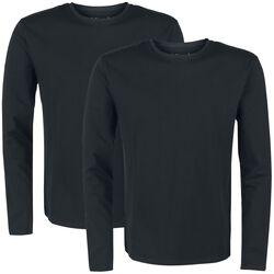 Pack doble de manga larga negra con cuello redondo