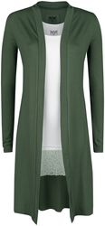 Cardigan largo oliva y top blanco de Black Premium