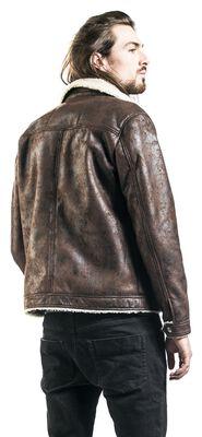 Chaqueta aviador de piel marrón con cuello de piel imitación