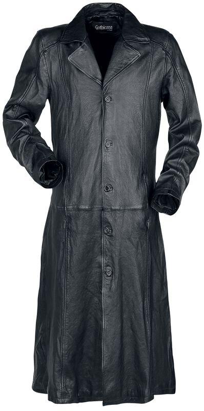 Abrigo largo negro de piel con cuello