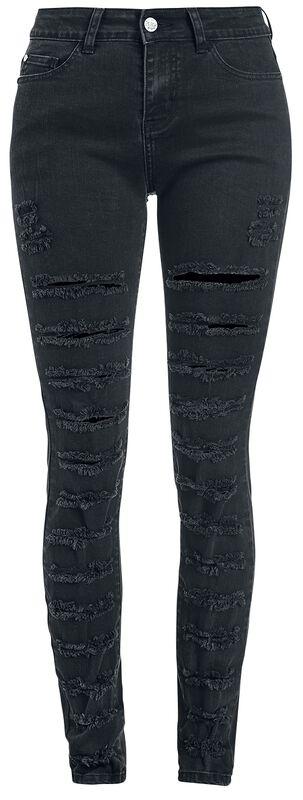 Skarlett - Schwarze rockige Jeans mit Rissen